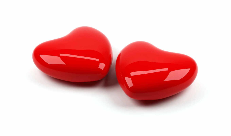 сердечки, белом, сердца, фоне, сердце, любовь, пара, блестящие, два, красные, red, hearts,