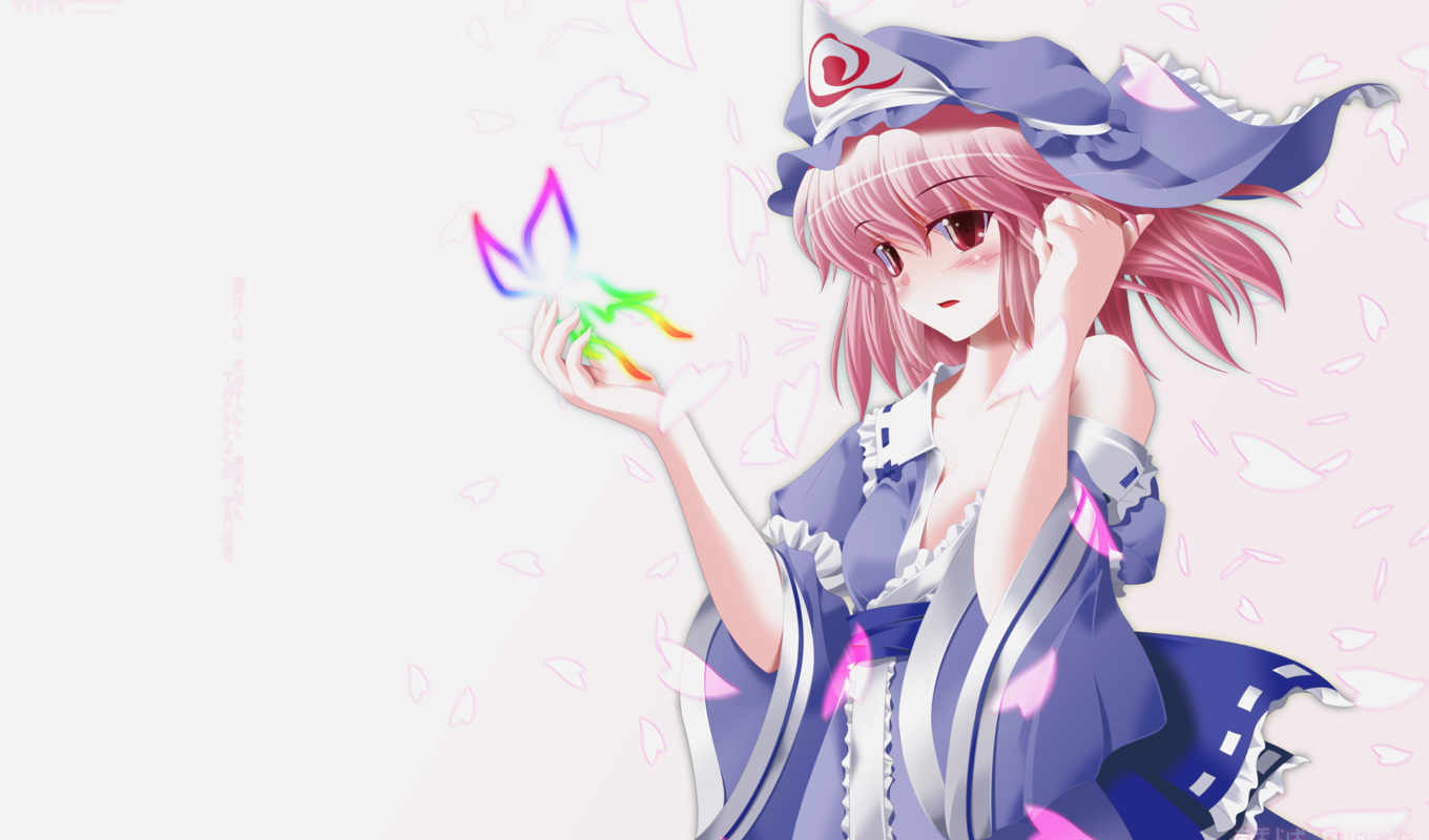 touhou, saigyouji, yuyuko, anime, collection, hair, petals, pink, pack, clothes, butterfly, side, japanese, cleavage, red, eyes,