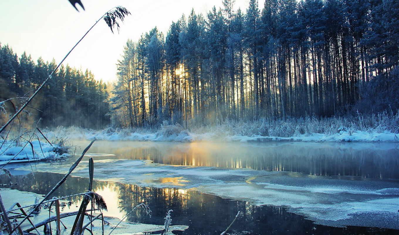 снег, пейзаж, зима, река, деревья, desktop, stunning, nuotrauka, download,