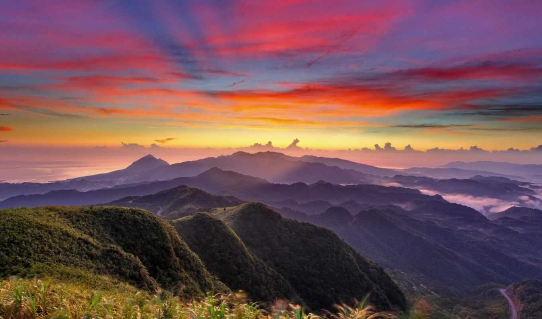 закат, небо, оранжевый, взгляд, горы, облака, height, туман,