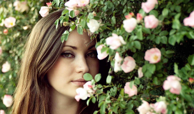 девушка, цветы, за,