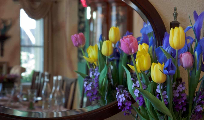 ирисы, букет, тюльпаны, цветы, тюльпанов, зеркало, photos, iris, images, fonds,