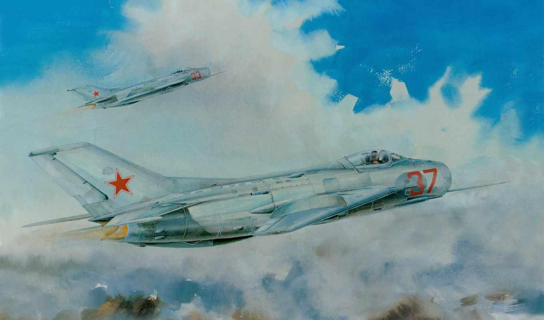 mig, авиация, рисованные, самолеты, trumpeter, советский, истребитель,