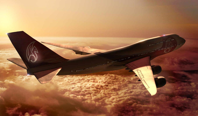самолёт, oblaka, полет, закат, небо, свет,