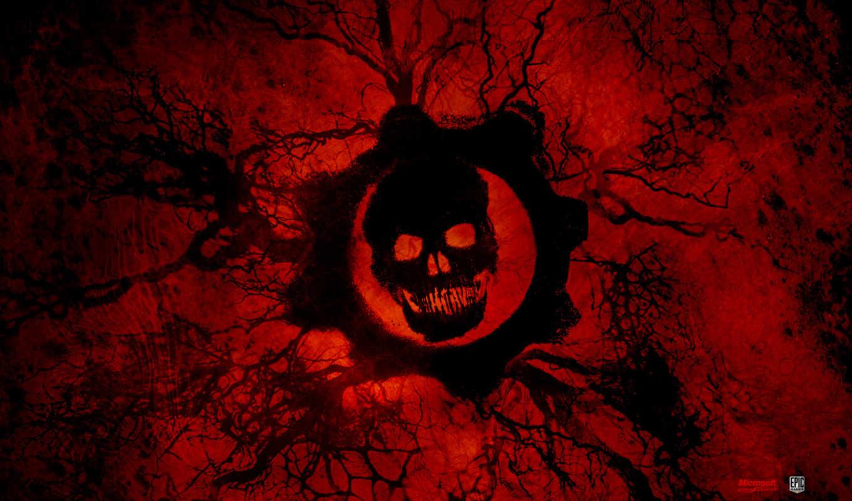 кровь, череп, war, gears,