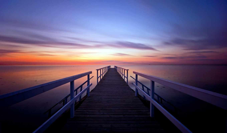 закат, pier, вечер, море, небо, причал,