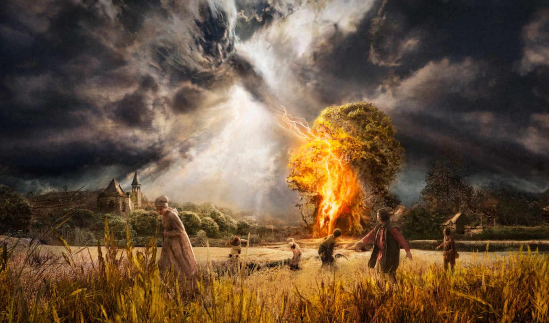 дерево, lightning, ударила, которое, испуганные, дерева, убегают, люди,