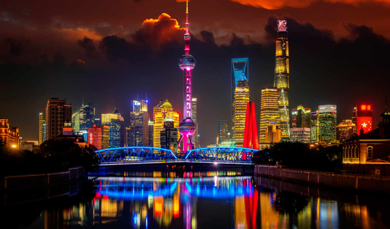 город, ночь, landscape, река, urban, shanghai, китаянка, china, башня, building