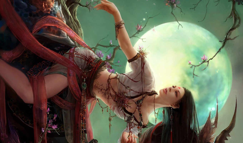 fantasy, free, birthday, девушка, Сакура, girls, луна, фэнтези, девушки, desktop, art, нравится,
