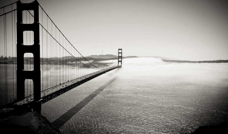 мост, сан, франциско, калифорния, black, white, golden, вода, картинка, мосты, штаты, сша, океан, desktop, места, gate,