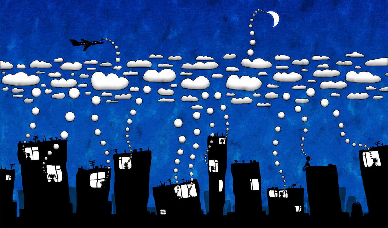 красивые, широкоформатные, город, ночь