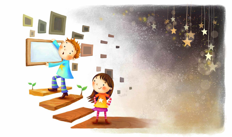 нарисованные, дети, мальчик, девочка, улыбка, ступеньки, рамки, звездочки
