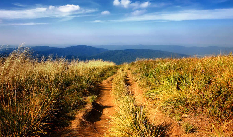 hiking, горы, поля, трава,небо,