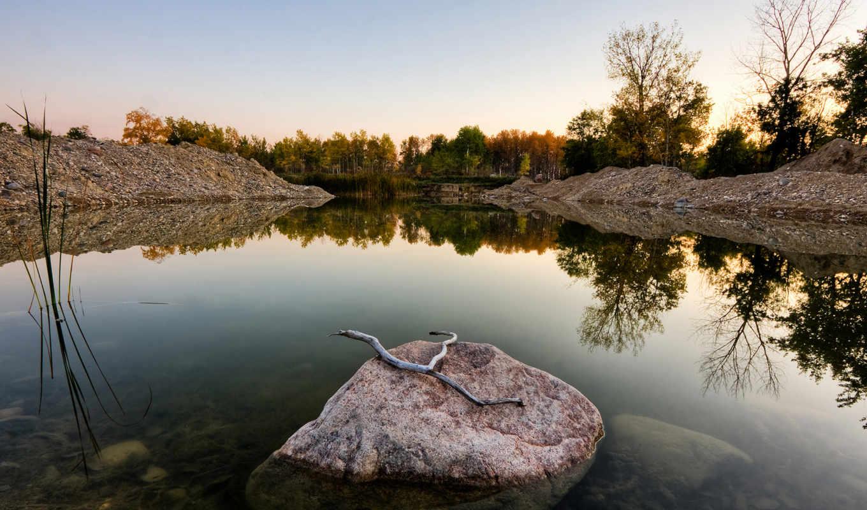 voda, камен, воде, стеклянная, пейзаж, веточки, отражение, деревя, ozero, круги,