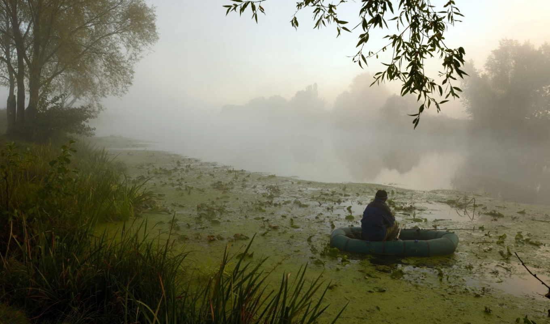 рыбалка, рыбак, mist, лодке, река, утро, found,