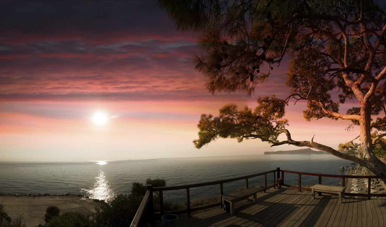 море, утро, high, ocean, небо, фотографий, desktop, остров, oceans,