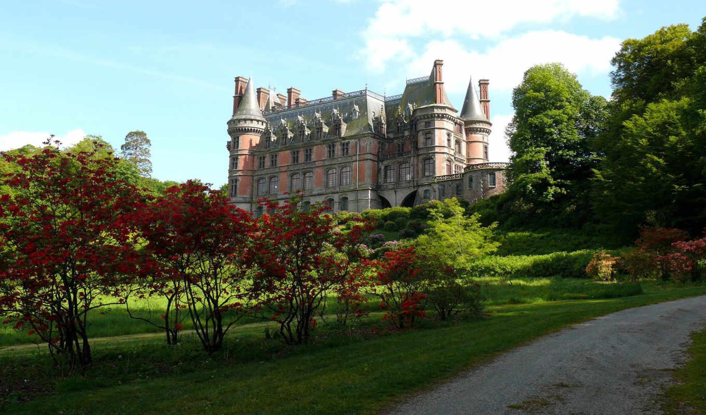 замок, солнечно, парк, кусты, ухоженность, день, лето,