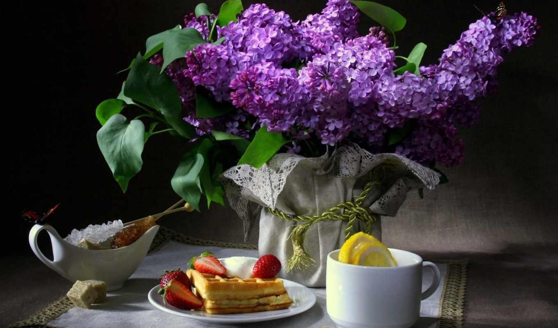 еще, цветы, сиреневый, бабочки, завтрак, вафли,