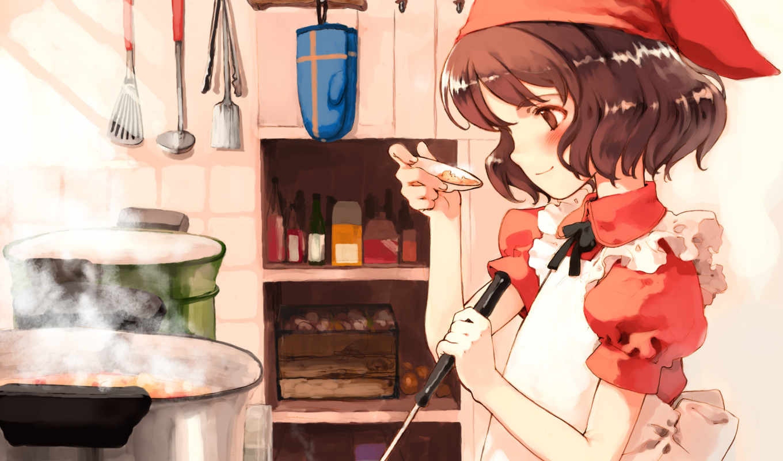 cook, anime, табличка, девушка, kitchen, cooking,