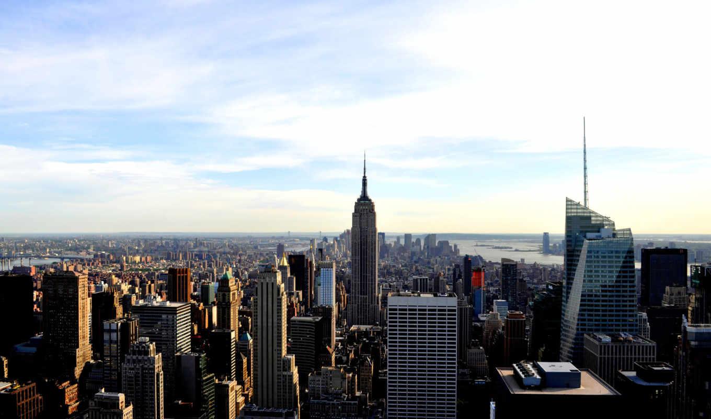 нью, york, города, america, new, дома, вид,