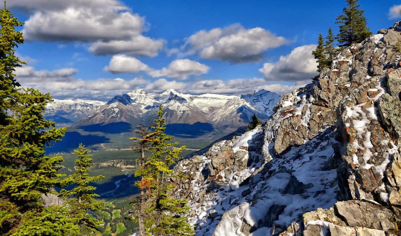 national, park, banff, горы, природа, деревья, falls, лес, pedernales, облака, state,