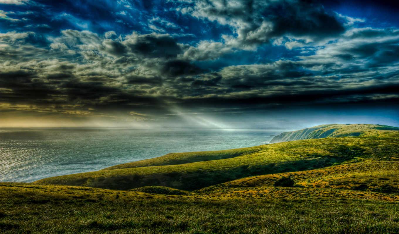 , море, небо, тучи, лучи, горы