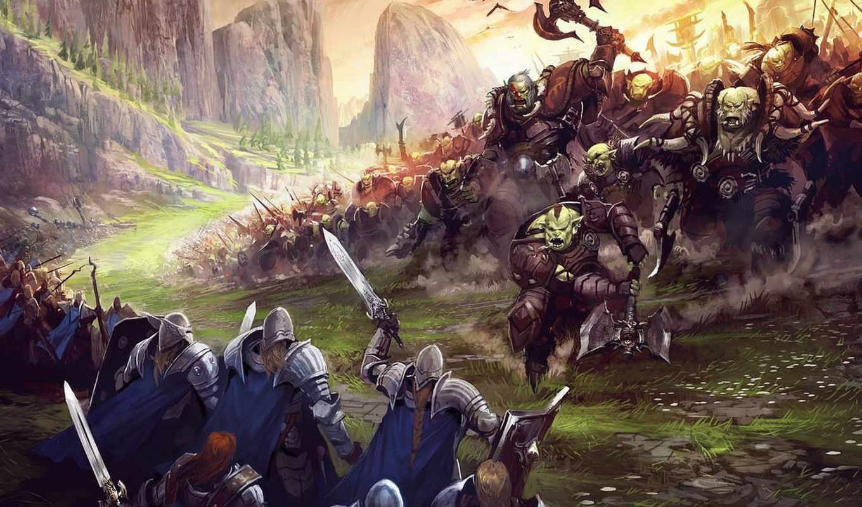 art, fantasy, орки, битва, war,
