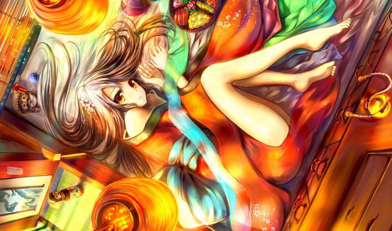 аниме, сладости, девушка, взгляд, поза, солнечный, свет,