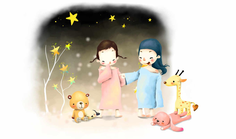 нарисованные, дети, девочки, игрушки, босиком, звезды, деревья, ночь