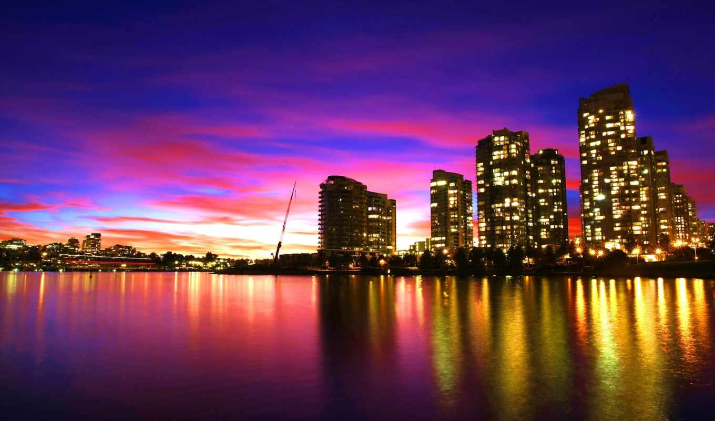 vancouver, канада, город, море, вечер, possible, ultimate, are,