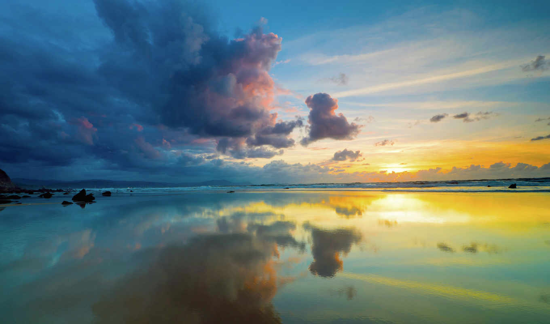 небо, море, sun, тучи, горизонт,