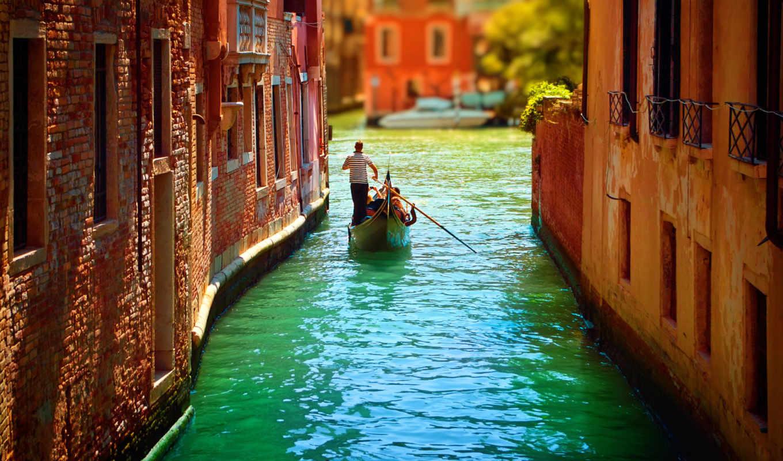венеция, italy, гондолы, река