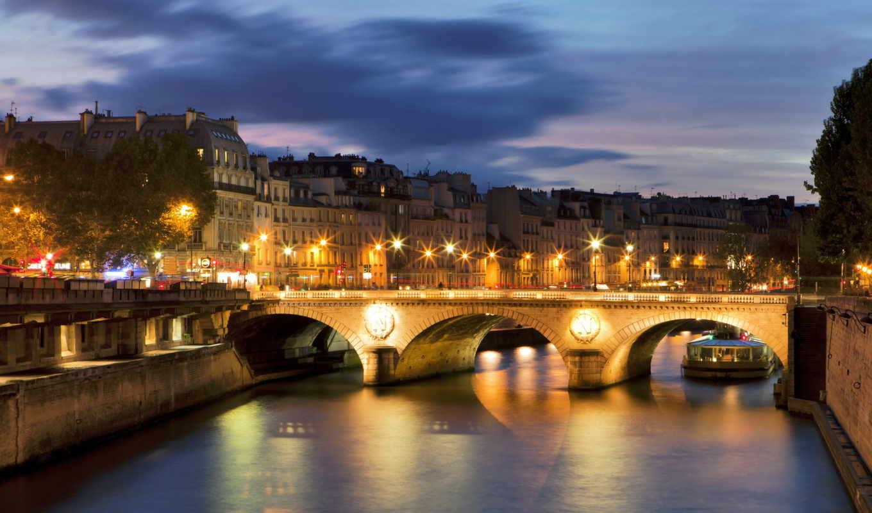 париж, sena, франция, река, ночь, мост, фонари,