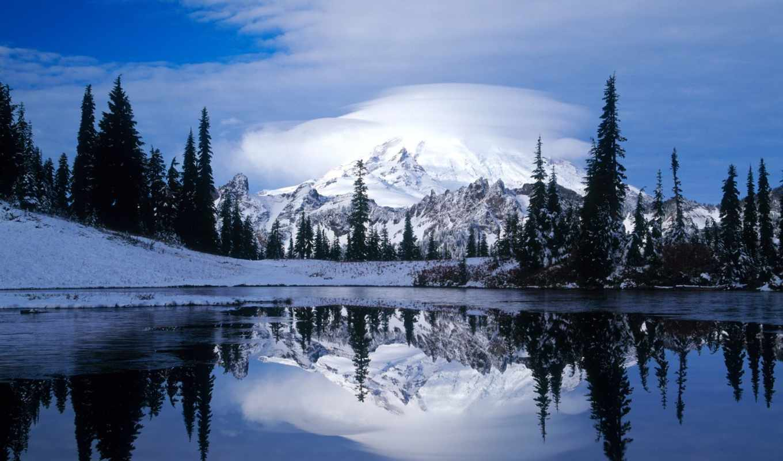 фотообои, озеро, зимние, tipsoo, водопад, льдом, winter, шлейф, подо, стену,