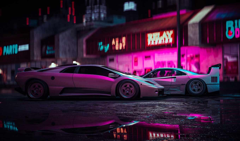 car, neon, luxury, спорткар, подсветка