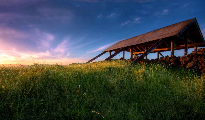 auckland, zealand, new, wallpaper, закат, новая, луг, зеландия, небо, nature, desktop, крыша, shelter,