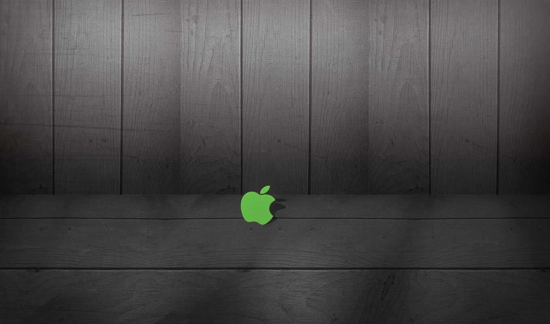 apple, logo, wood