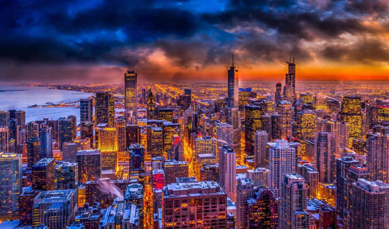 chicago, desktop, закат, фон, после, best,