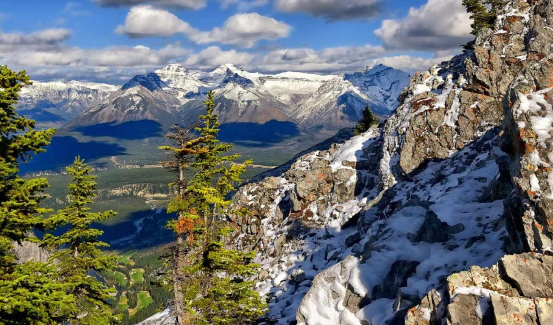 park, national, banff, горы, деревья, falls, облака,