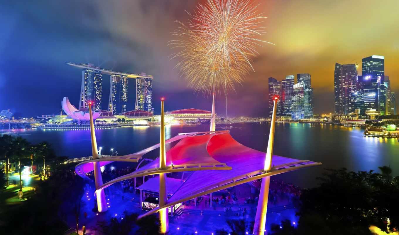 парад, день, singapore, national, fireworks, янв,