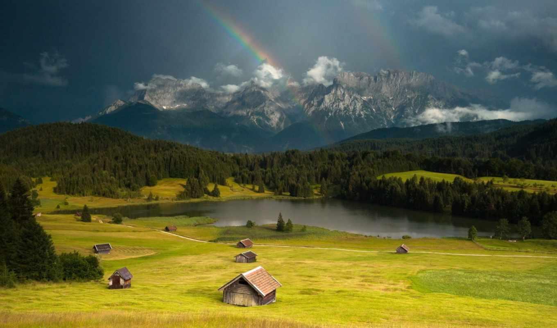 долина, landscape, радуга, wales, великобритания, hill, mountains, планшетный, ноутбук,