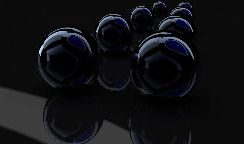 , шары, черный, 3д