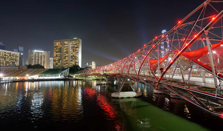 singapore, bay, мост, марина, helix, nighttime, garden, во, город, ночь, water