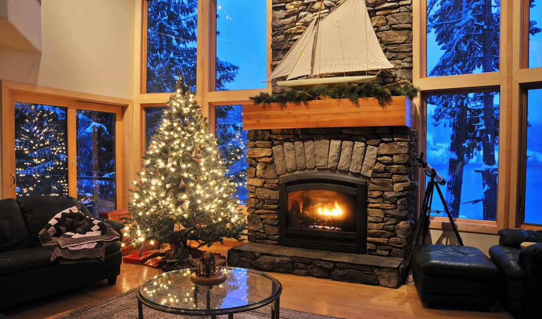 обои, елка, год, новый, праздники, камин, рождеств