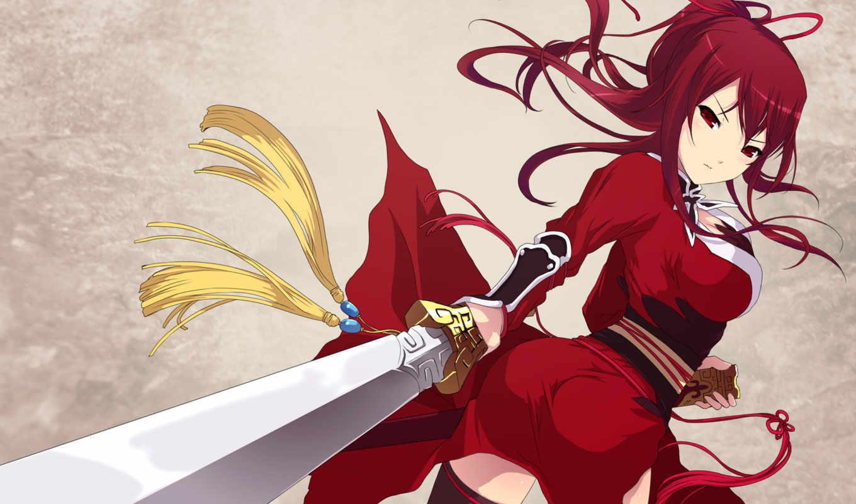 anime, red, hair, girl, sword, рыжая, warrior, scarlett, long, попка, woman, eyes, gauntlet, picture, swordswoman, изображение,
