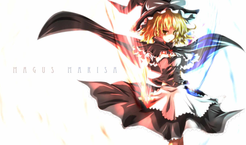 картинка, аниме, персонаж, эпизод, touhou, 魔理沙, имеет, горизонтали, вертикали, desktop, marisa, kirisame,