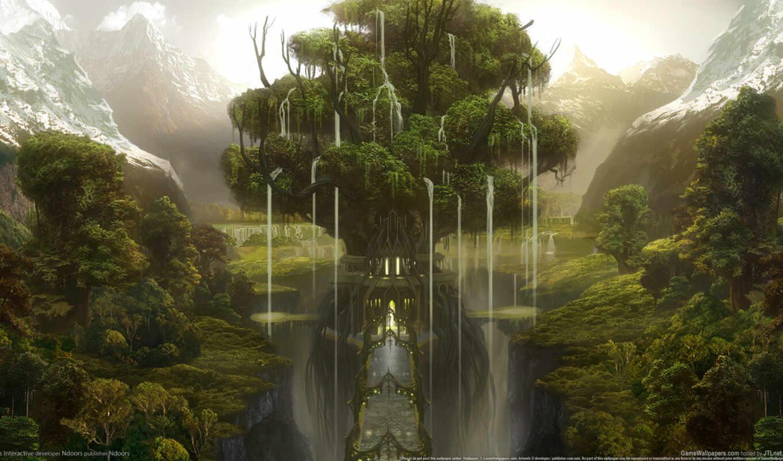 fantasy, castle, дерево, мост, горы, лес, ущелье, фэнтези,