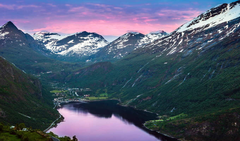 горы, norwegian, норвегия, fjord, geiranger, geirangerfjorde, река,