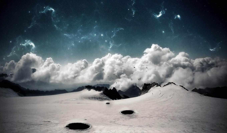 космос, огонь, tapety, се, krajobrazy, oblaka, над, chmury, ziemia,