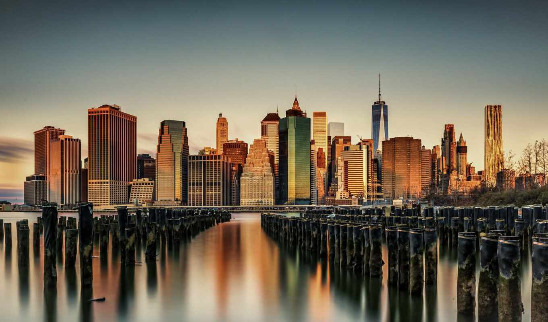 new, york, мост, город, бруклин, park, cityscape, небоскрёб, usa, architecture, закат